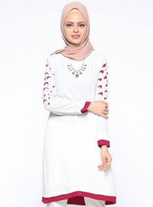 Lazer Kesimli Tunik - Beyaz