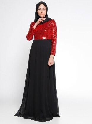 Payetli Abiye Elbise - Kırmızı Siyah