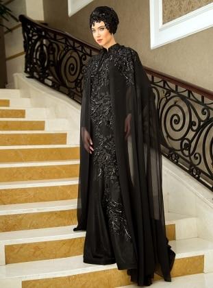 Pelerinli Abiye Elbise - Siyah Zehrace