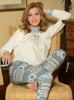 Pijama Takımı - Beyaz Mavi