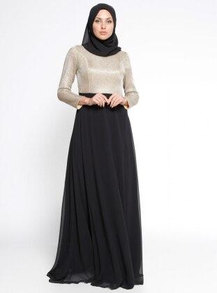 Şifon Abiye Elbise - Gold Siyah