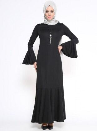 Volan Detaylı Elbise - Siyah