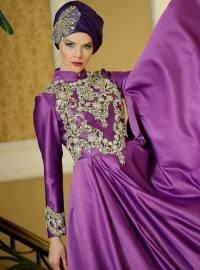Crew neck - Fully Lined - Purple - Muslim Evening Dress