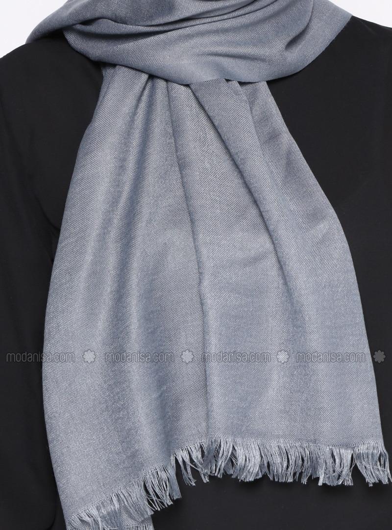 d66f26de59d Gray - Plain - Pashmina - Shawl