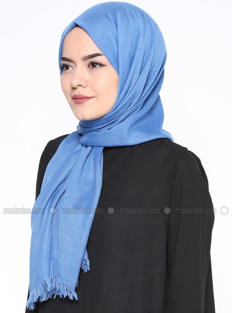 Blue - Plain - Pashmina - Shawl