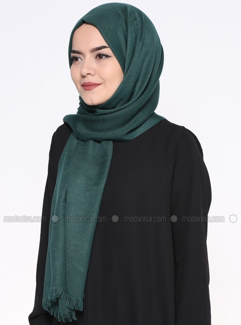 Green - Plain - Pashmina - Shawl