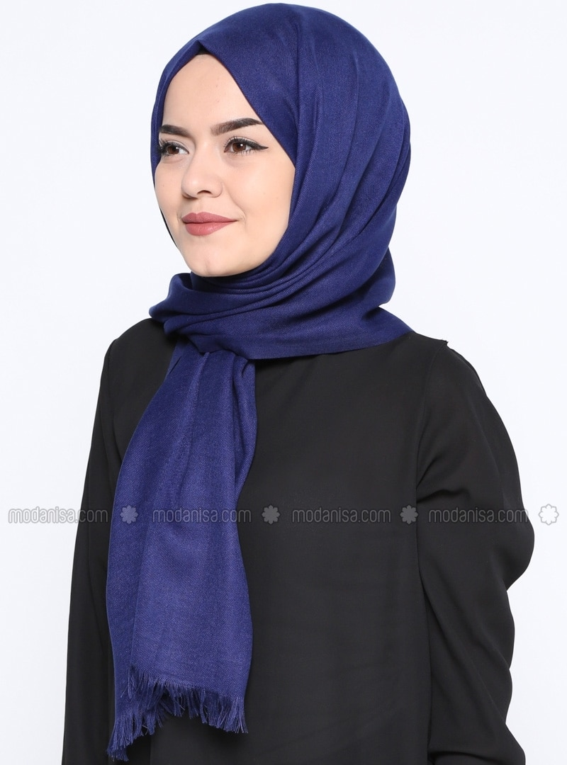 Navy Blue - Plain - Pashmina - Shawl