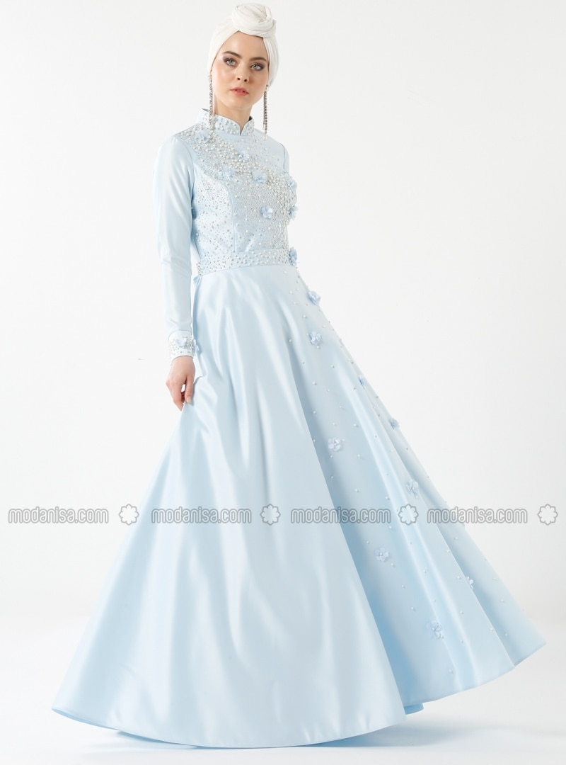 a25ed644b979e Kardelen Abiye Elbise - Buz Mavi