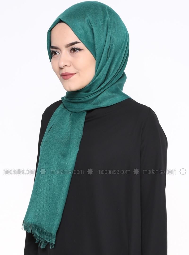 Green - Plain - Pashmina - Shawl