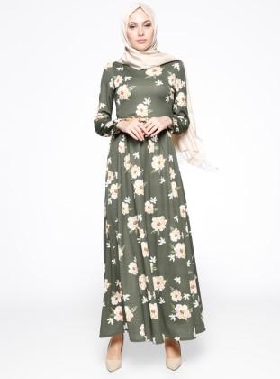Çiçek Desenli Elbise - Haki