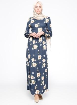 Çiçek Desenli Elbise - Lacivert