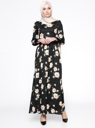 Çiçek Desenli Elbise - Siyah