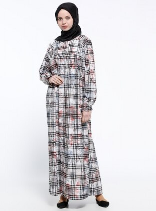Fermuar Detaylı Elbise - Siyah Somon ModaNaz