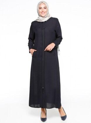 Unlined - Crew neck - Black - Plus Size Abaya - ModaNaz 293846