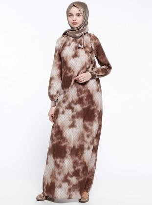 Gipeli Elbise - Kahve Krem