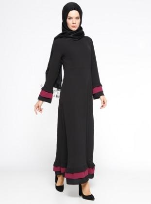 Veteks Line Volan Detaylı Elbise - Siyah