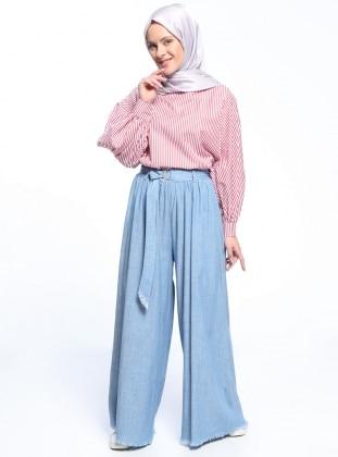 Naturel Kumaşlı Beli Lastikli Pantolon - Açık Mavi