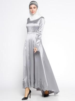 Dantel Detaylı Abiye Elbise - Gri