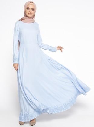 Dantel Detaylı Elbise - Bebe Mavi