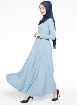 Loreen Dantel Detaylı Elbise - Bebe Mavisi
