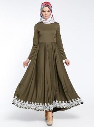 Dantel Detaylı Elbise - Haki