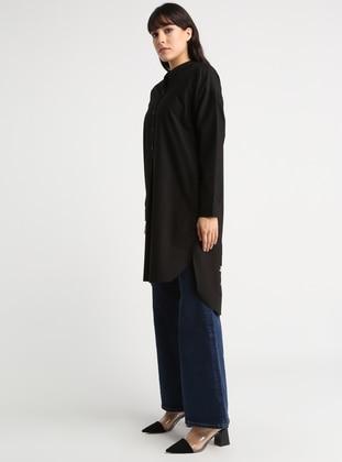 Black - Button Collar - Cotton - Blouses