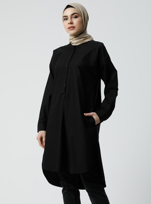 Black - Button Collar - Cotton - Blouses