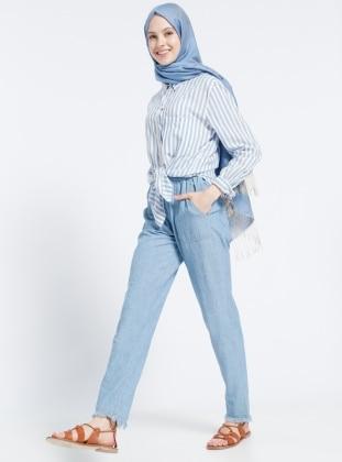 Doğal Kumaşlı Kot Pantolon - Açık Mavi