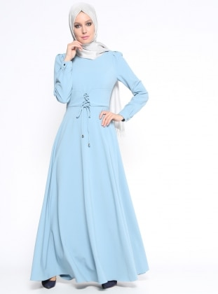 Düz Renk Elbise - Bebe Mavisi