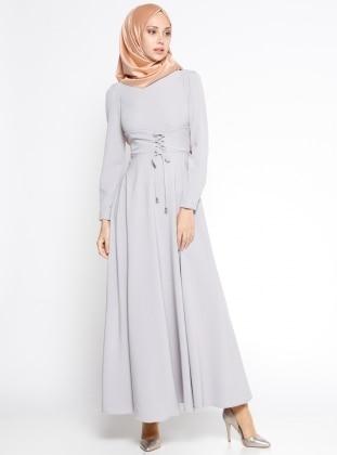Düz Renk Elbise - Gri Loreen