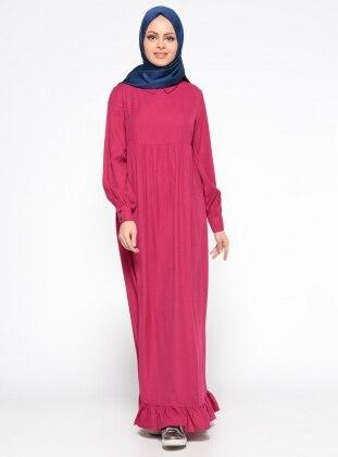 Veteks Line Fırfır Detaylı Keten Elbise - Fuşya