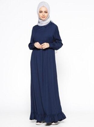 Fırfır Detaylı Keten Elbise - Lacivert