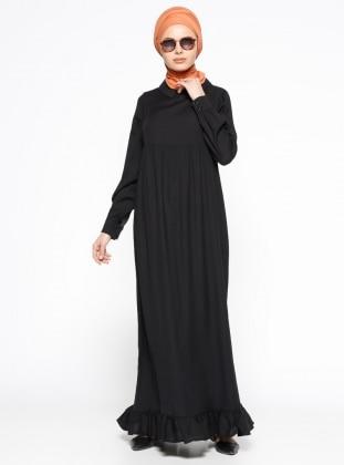 Veteks Line Fırfır Detaylı Keten Elbise - Siyah