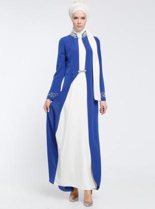 İnci Detaylı Abiye Elbise - Saks