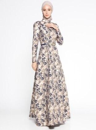 Jakarlı Abiye Elbise - Lacivert
