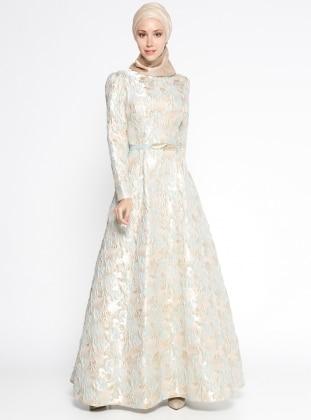 Jakarlı Abiye Elbise - Mint