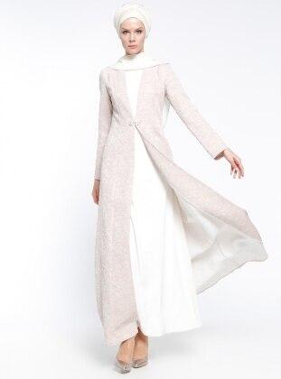 Jakarlı Abiye Elbise - Pudra