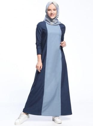 Natural Kumaşlı Kot Elbise - Lacivert Mavi