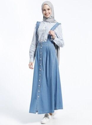 Doğal Kumaşlı Askılı Kot Elbise - Açık Mavi