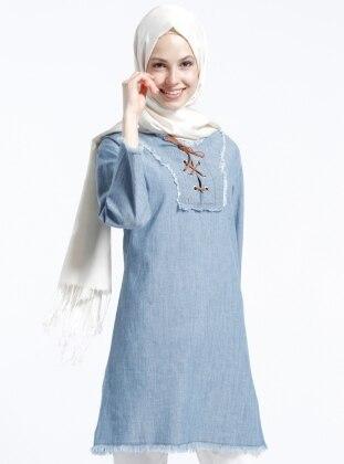 Doğal Kumaşlı Kot Tunik - Açık Mavi