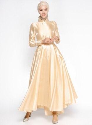 Pile Detaylı Abiye Elbise - Gold