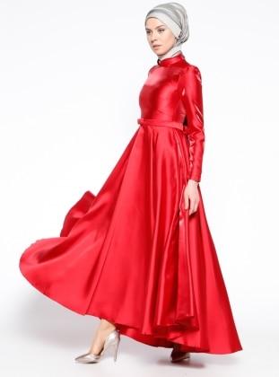 Pile Detaylı Abiye Elbise - Kırmızı