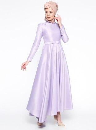 Pile Detaylı Abiye Elbise - Lila