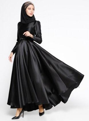 Pile Detaylı Abiye Elbise - Siyah