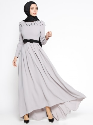 Pile Detaylı Elbise - Gri