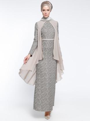 Şifon Parçalı Kemerli Abiye Elbise - Gri