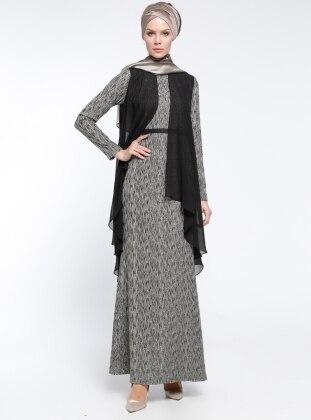 Şifon Parçalı Kemerli Abiye Elbise - Siyah