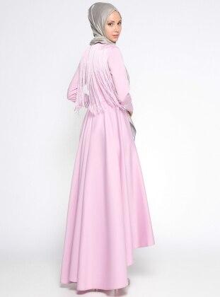 Sırtı Püskül Detaylı Abiye Elbise - Pembe