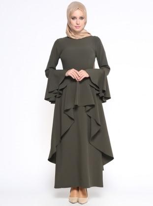 Volan Detaylı Elbise - Haki