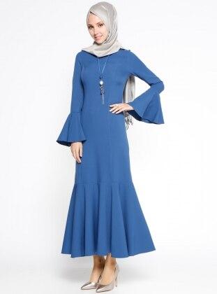 Volan Detaylı Elbise - İndigo